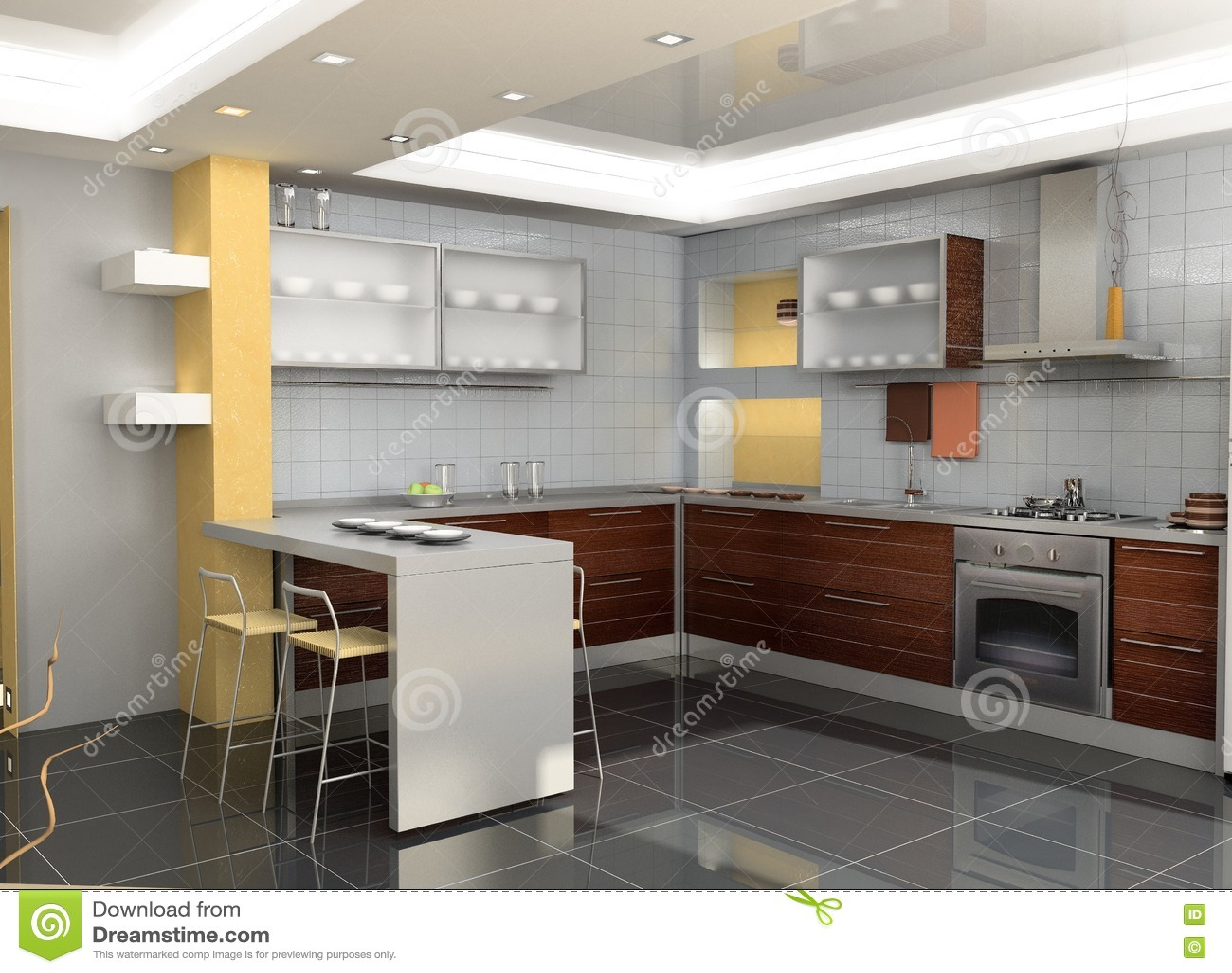 Interior moderno de la cocina