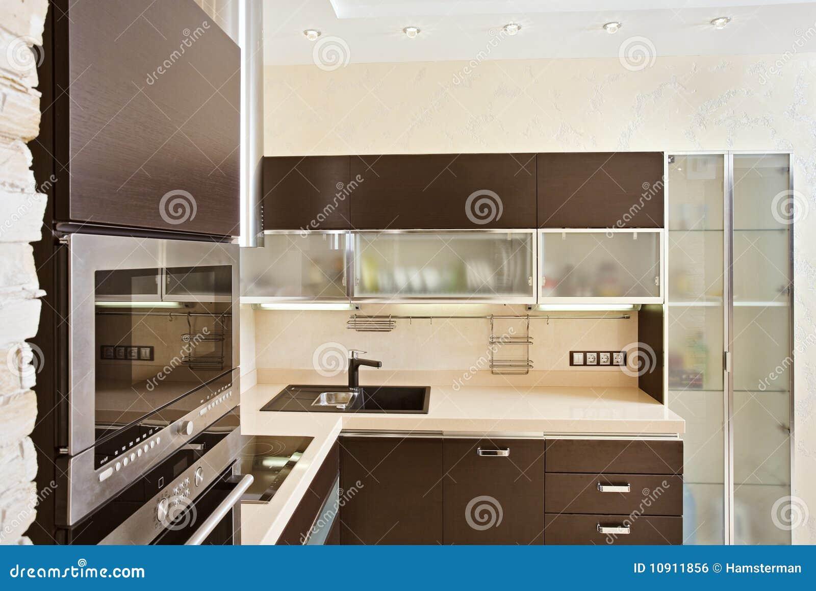 Interior moderno de la cocina con muebles de la madera for Muebles de cocina de madera modernos