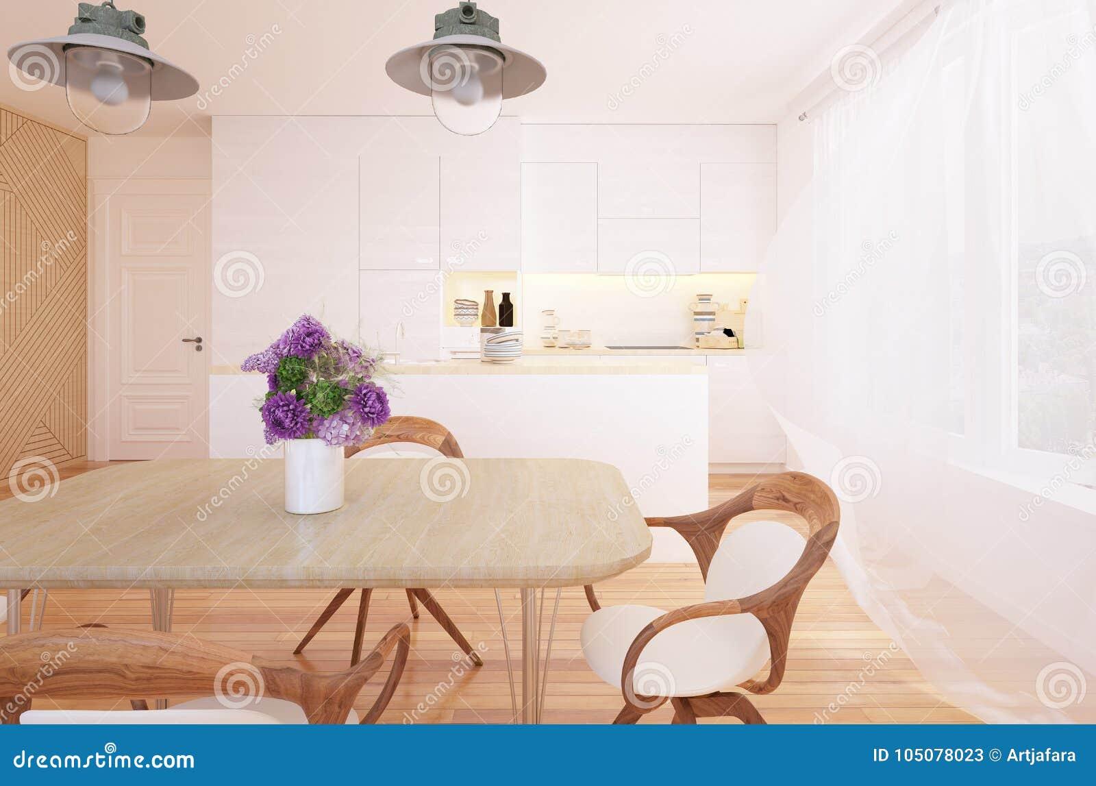 Interior moderno de la cocina y del comedor