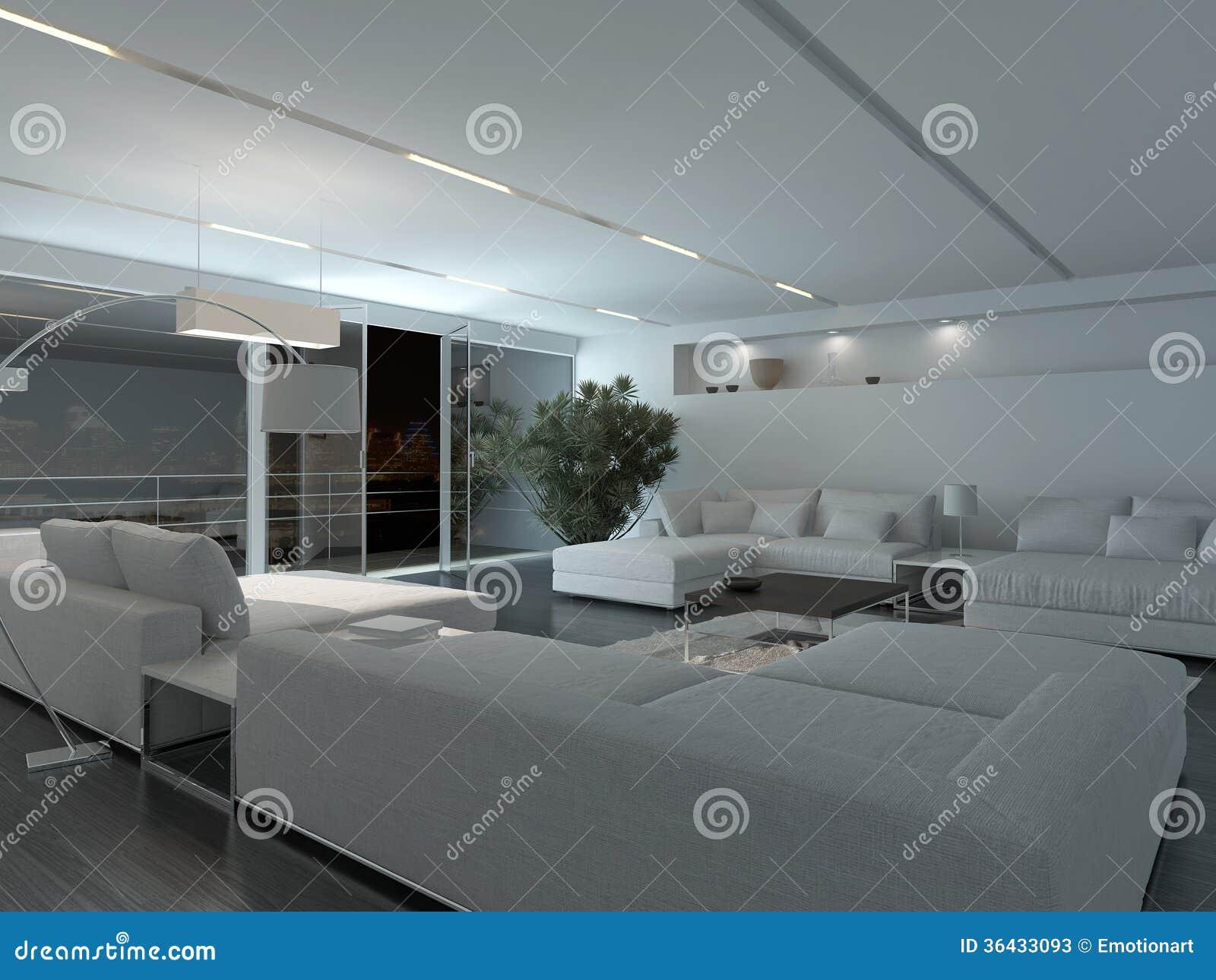 Interior moderno de la sala de estar en la noche fotos de for Sala de estar noche