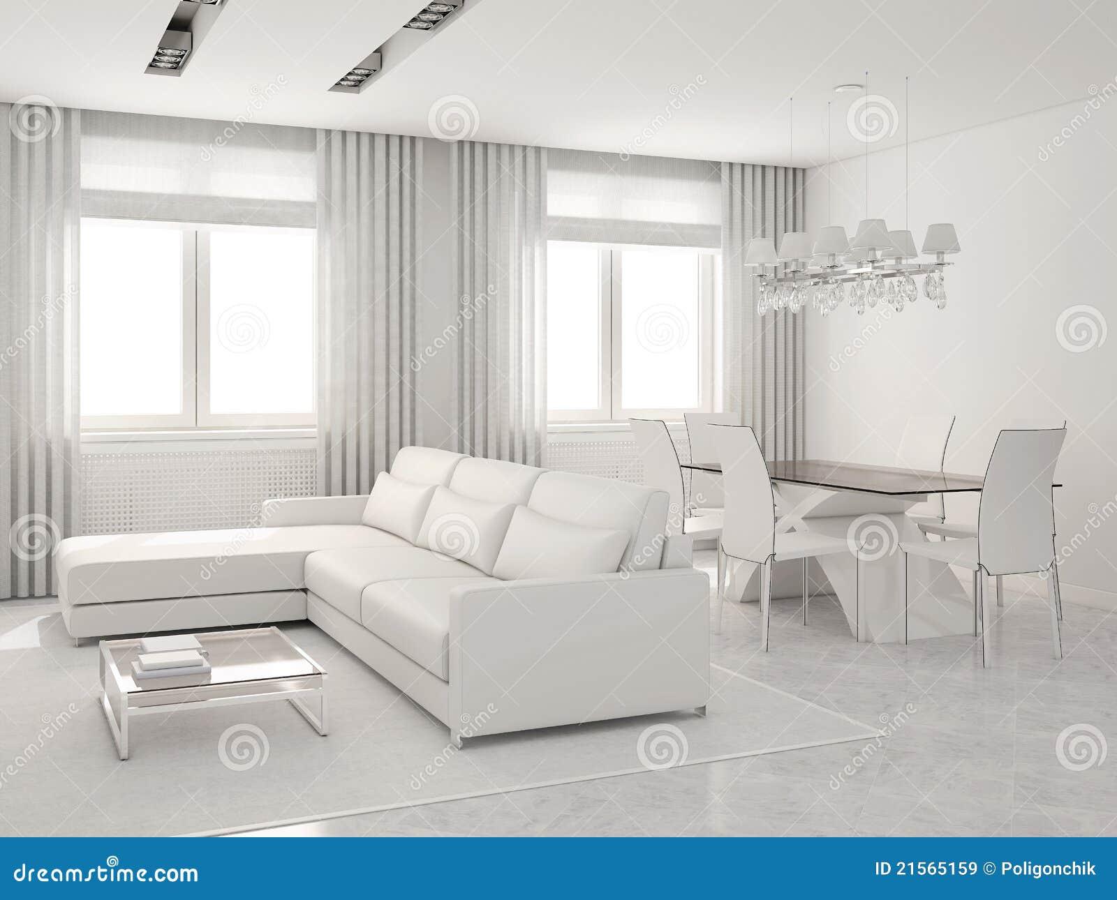 Interior moderno de la sala de estar y del comedor for Sala de estar y comedor