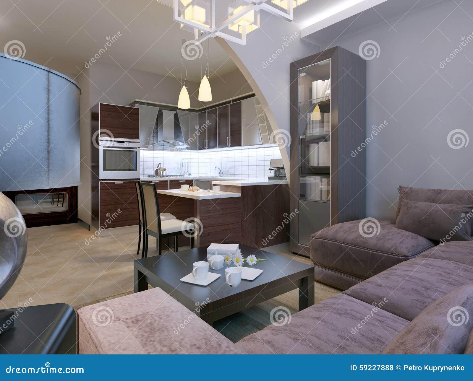 Download Interior Moderno De Un Estudio De La Sala De Estar Stock de ilustración - Ilustración de suelo, cocina: 59227888