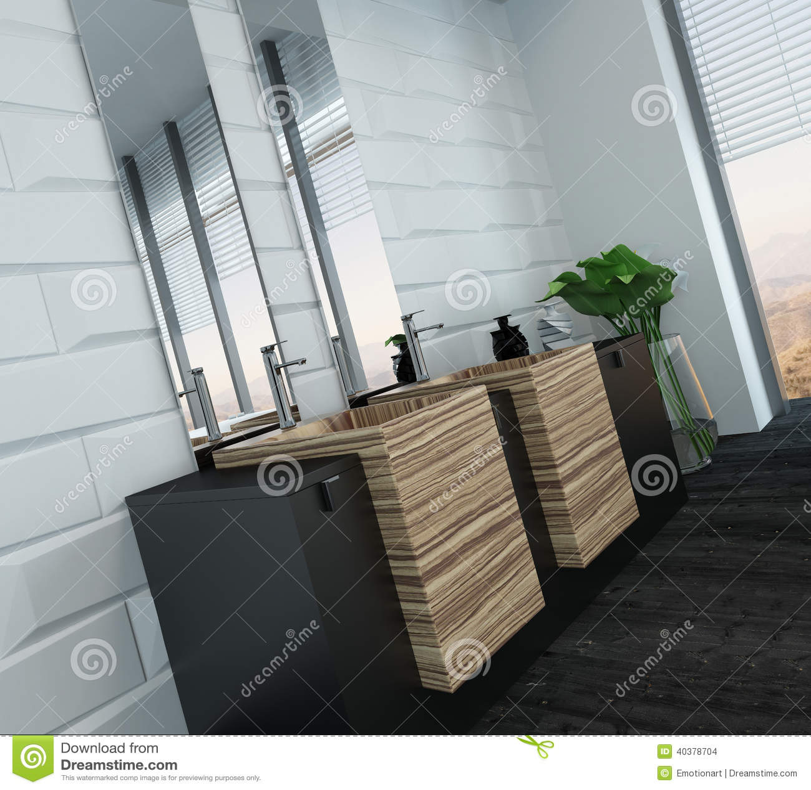 Interior Moderno Del Cuarto De Ba O Con Muebles De Madera