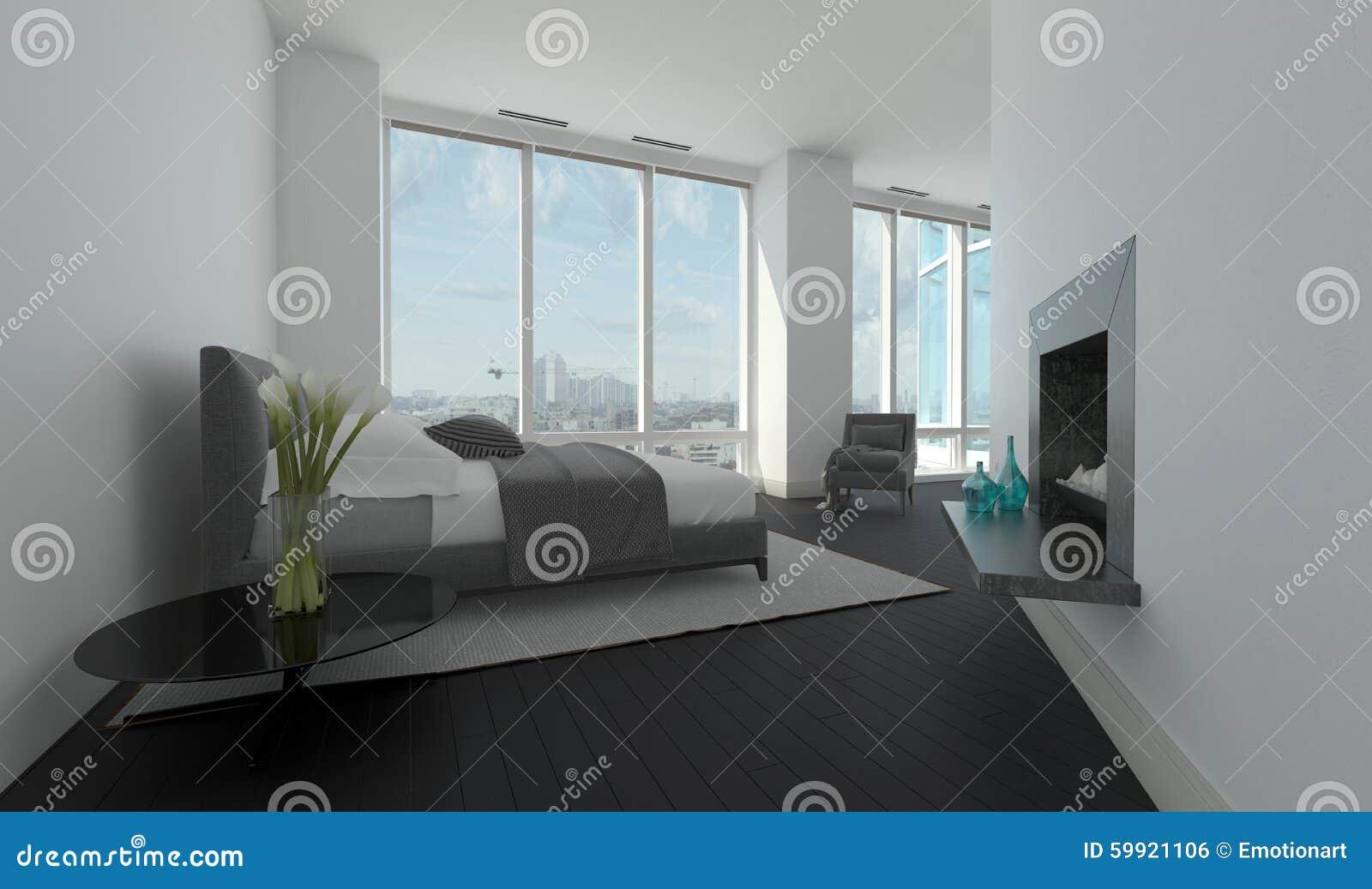 Interior moderno del dormitorio en un cuarto anguloso