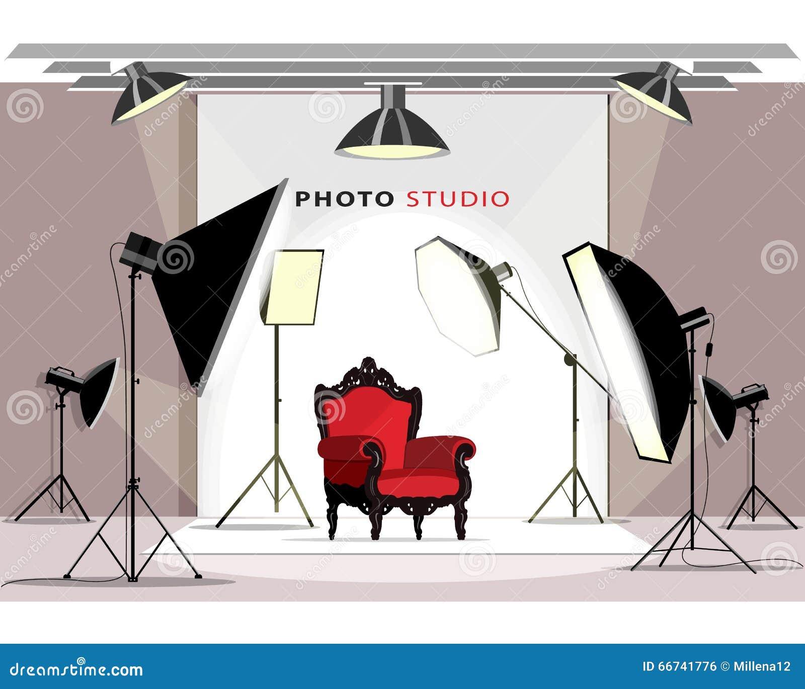 Interior moderno del estudio de la foto con el equipo de iluminación y la butaca Estilo plano