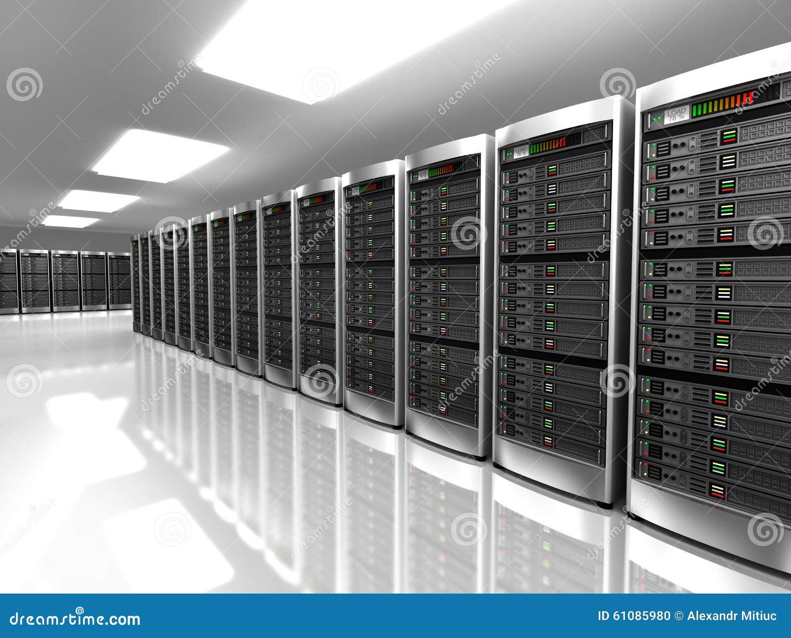 Interior moderno del sitio del servidor en datacenter