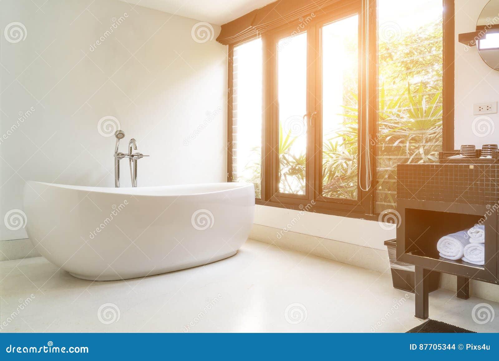 Interior moderno do banheiro com a banheira oval branca