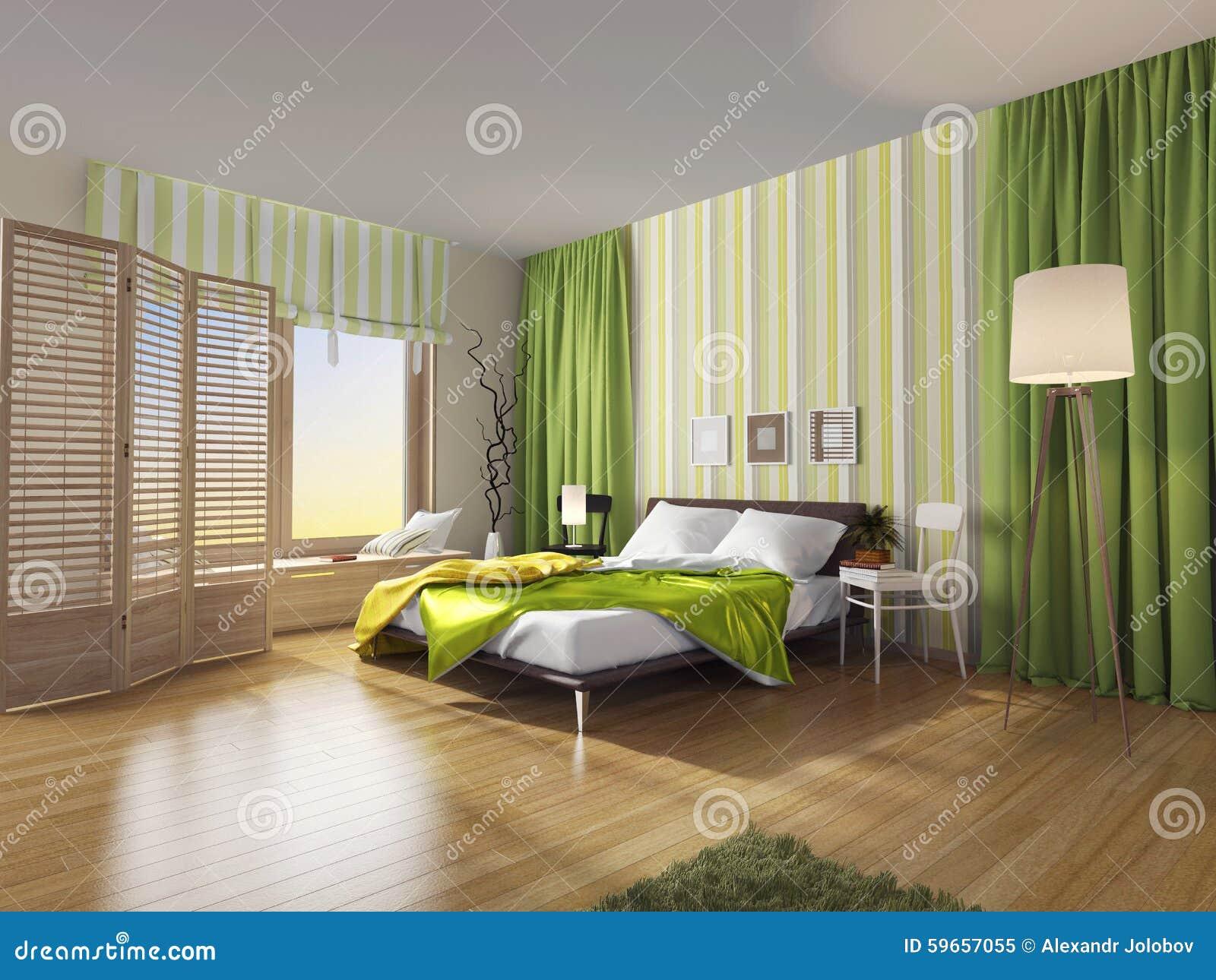 Interior Moderno Do Quarto Com Cortina Verde Ilustra O Stock