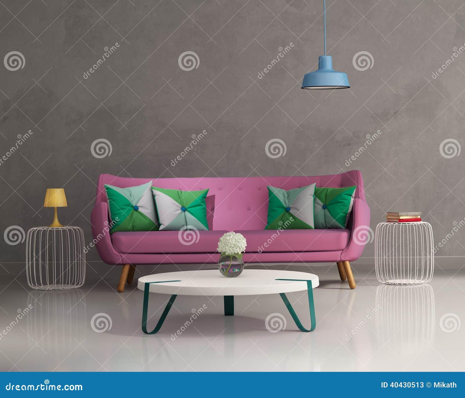 Interior moderno elegante rosado del sofá