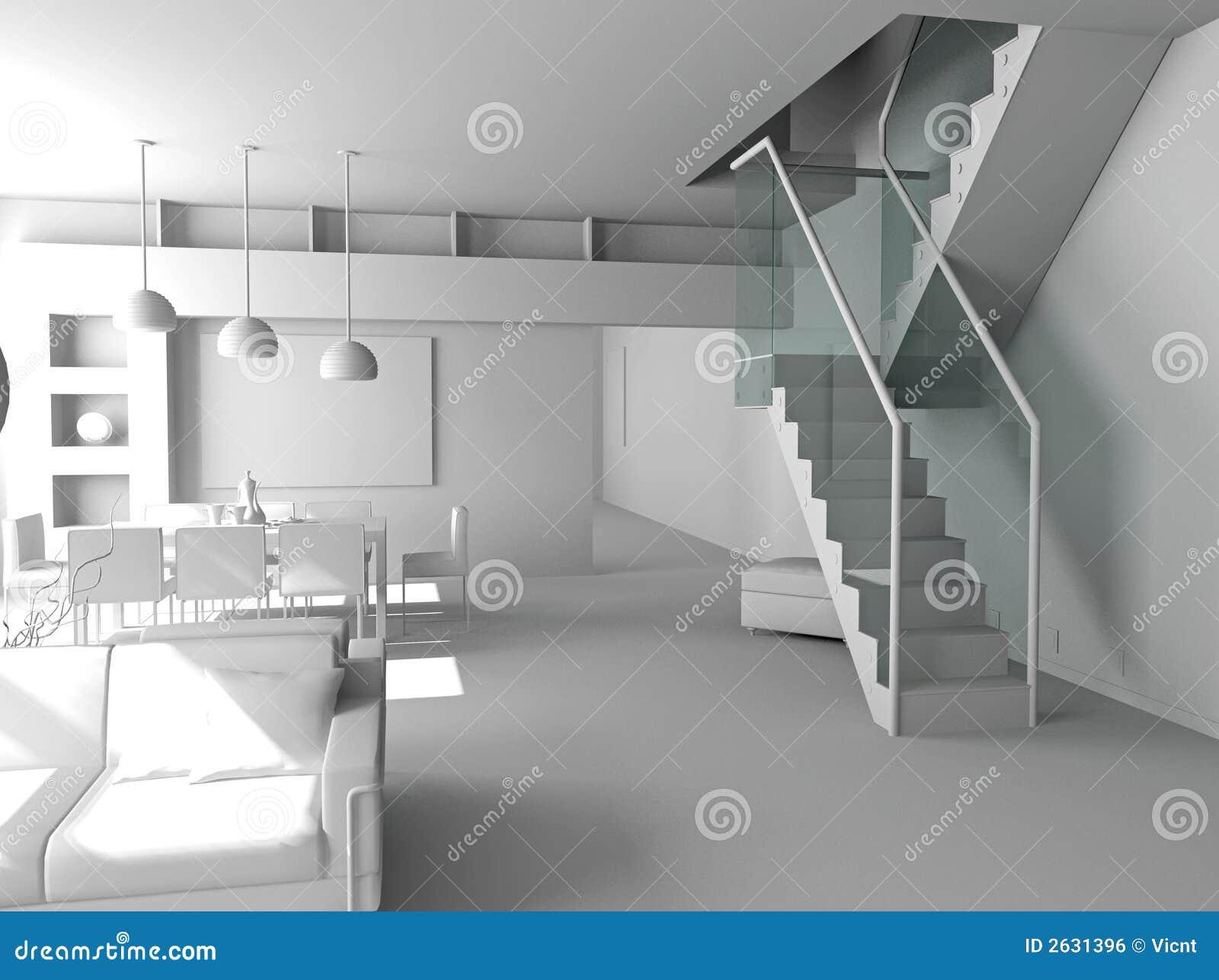 Interior moderno em branco