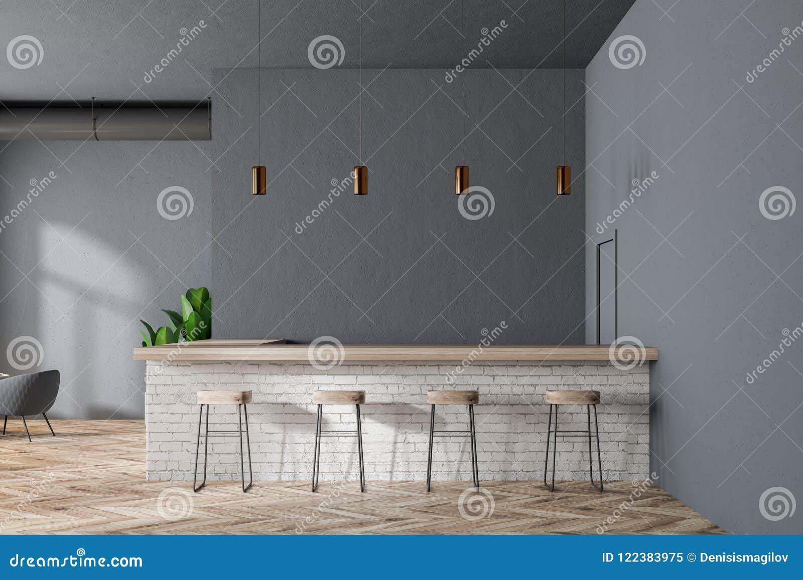 3271d42c09fb Barra con los taburetes en un interior moderno del restaurante con paredes  grises, un piso de madera y las butacas mofa de la representación 3d para  arriba