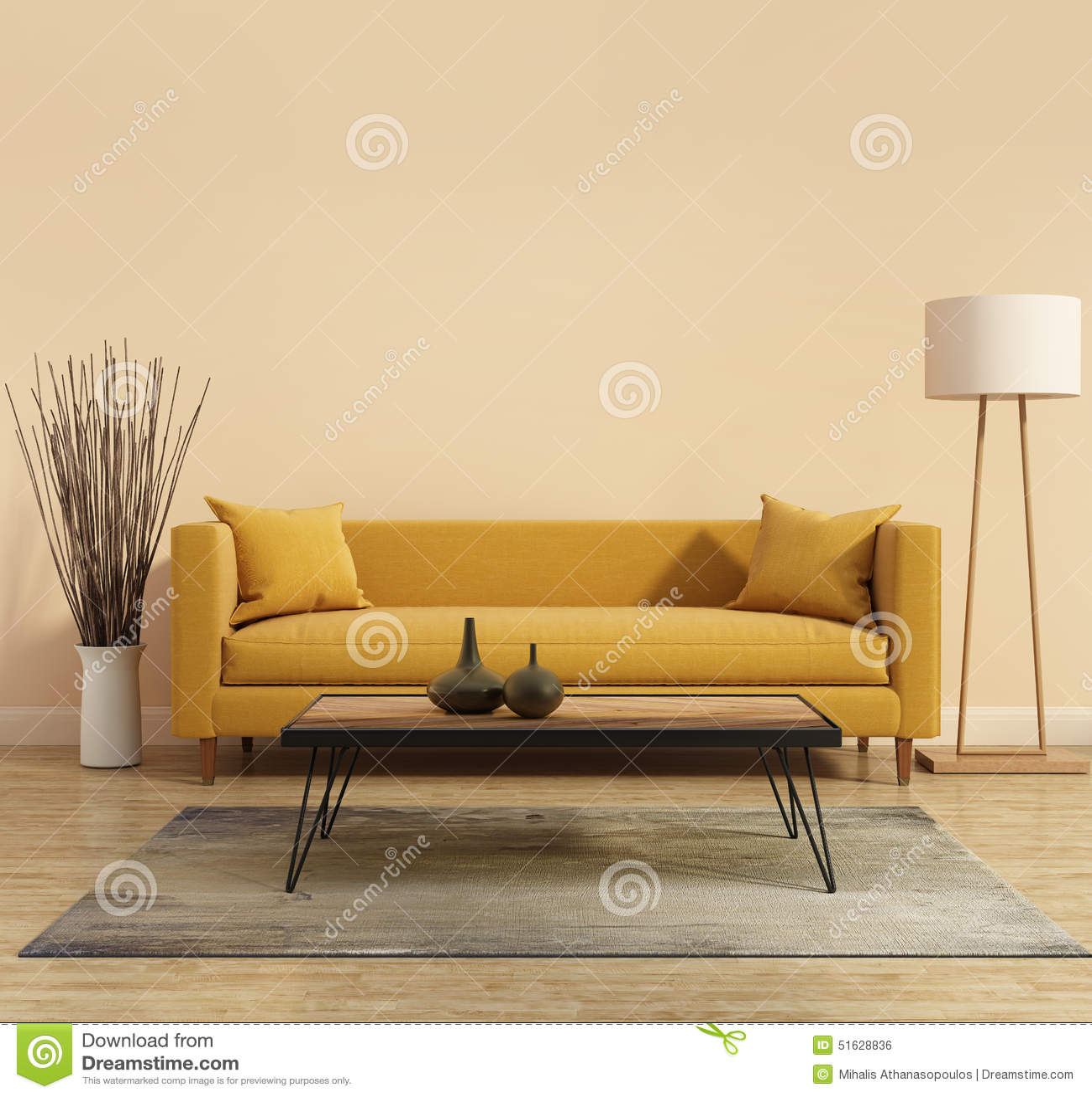 Interior moderno moderno con un sofá amarillo en la sala de estar con una bañera mínima blanca