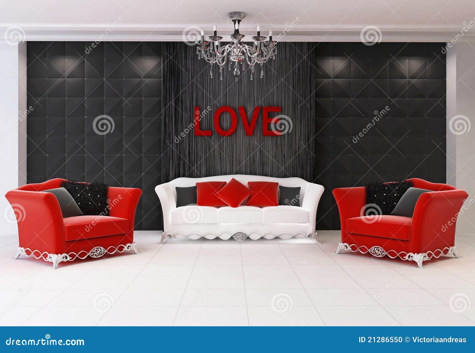 Interior moderno rojo con los muebles, dos butacas y el sofá de la