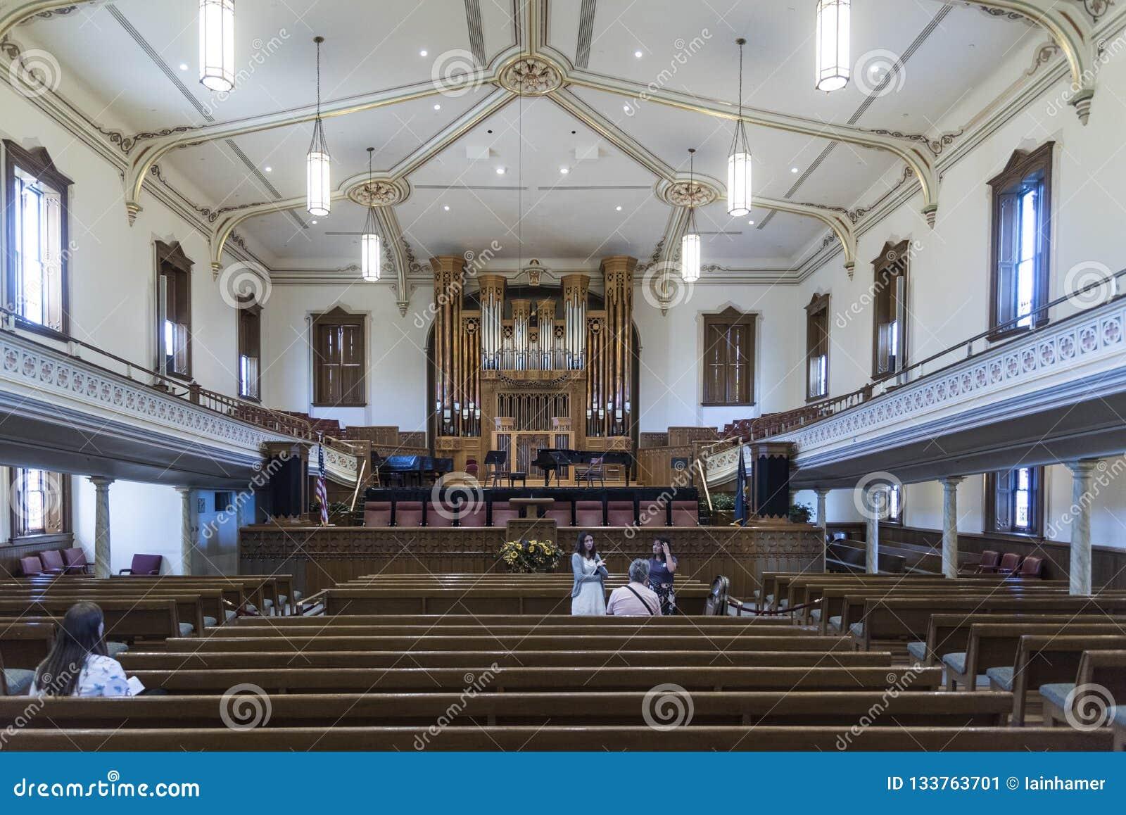 Interior Mormon Assembly Hall Temple Square Salt Lake City Editorial