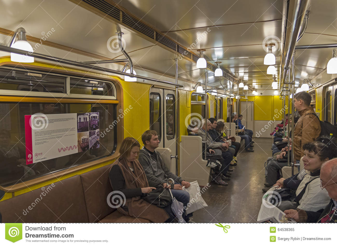 interior of moscow subway carriage editorial image image 64538365. Black Bedroom Furniture Sets. Home Design Ideas
