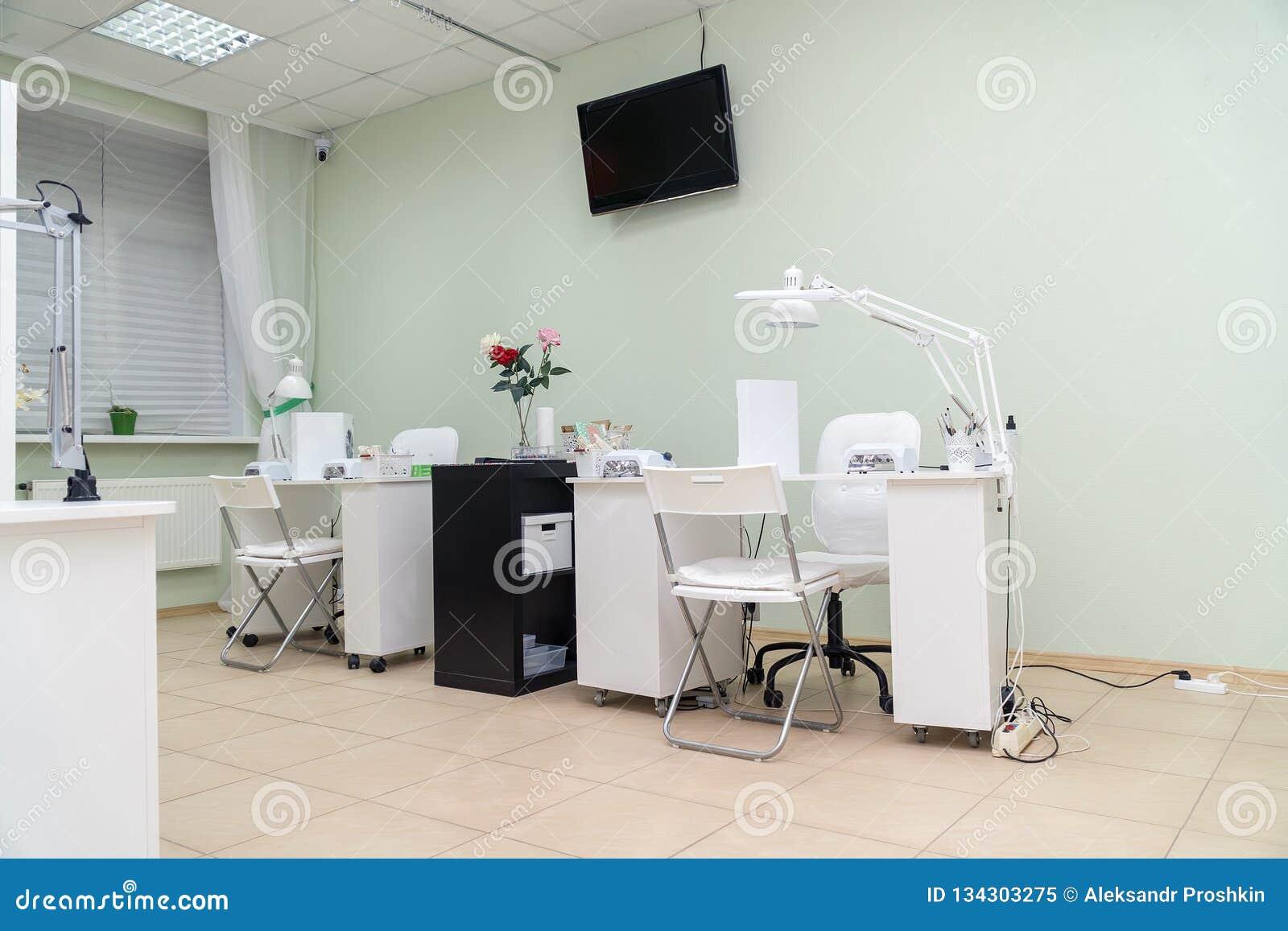 Interior Nail Salon And Manicurist Jobs In Spa Salon Stock Image