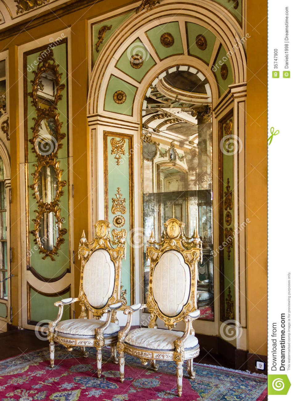 Interior National Palace Queluz Portugal Stock Photo