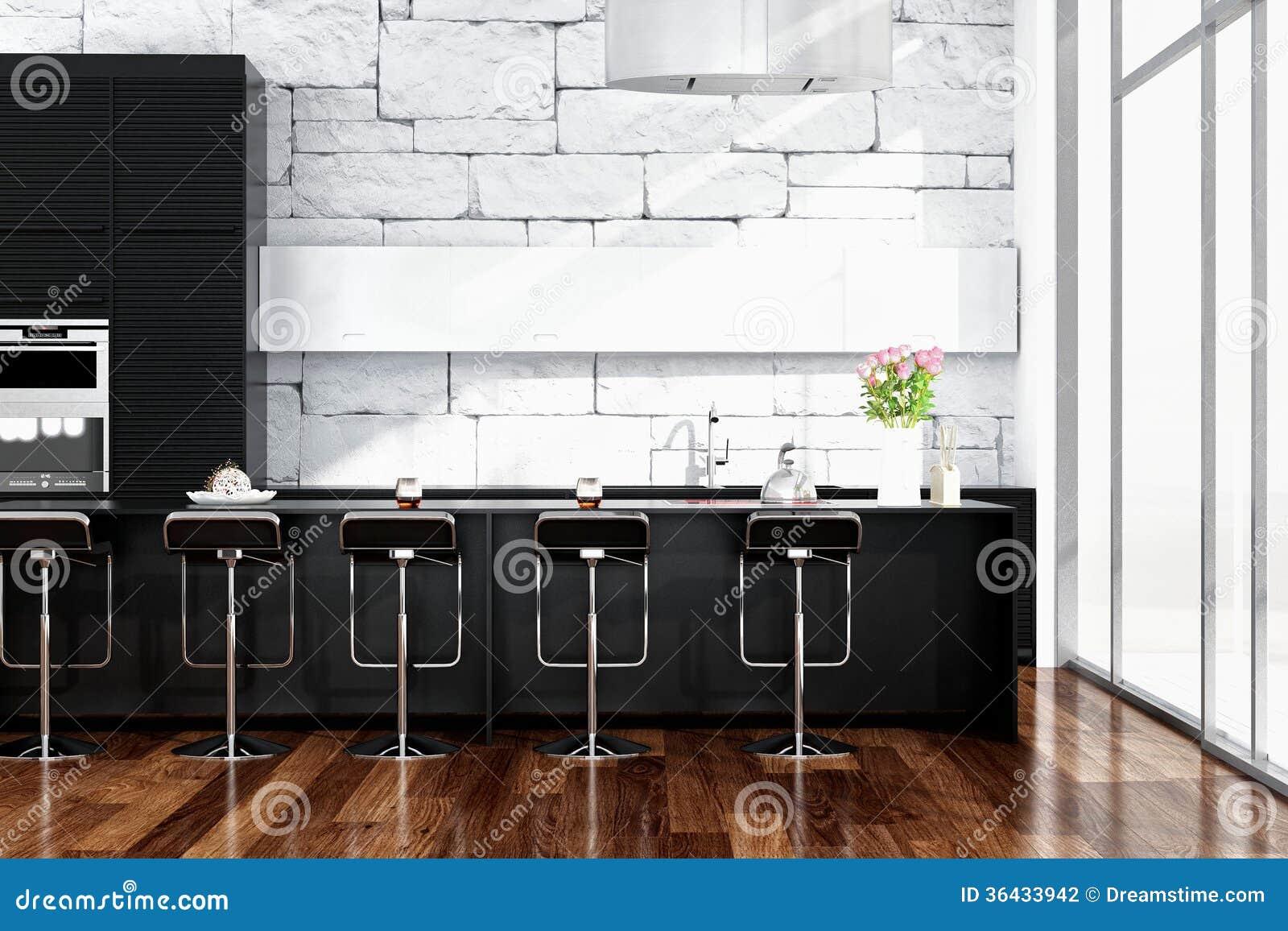 Interior negro de la cocina con muebles modernos for Interior muebles cocina