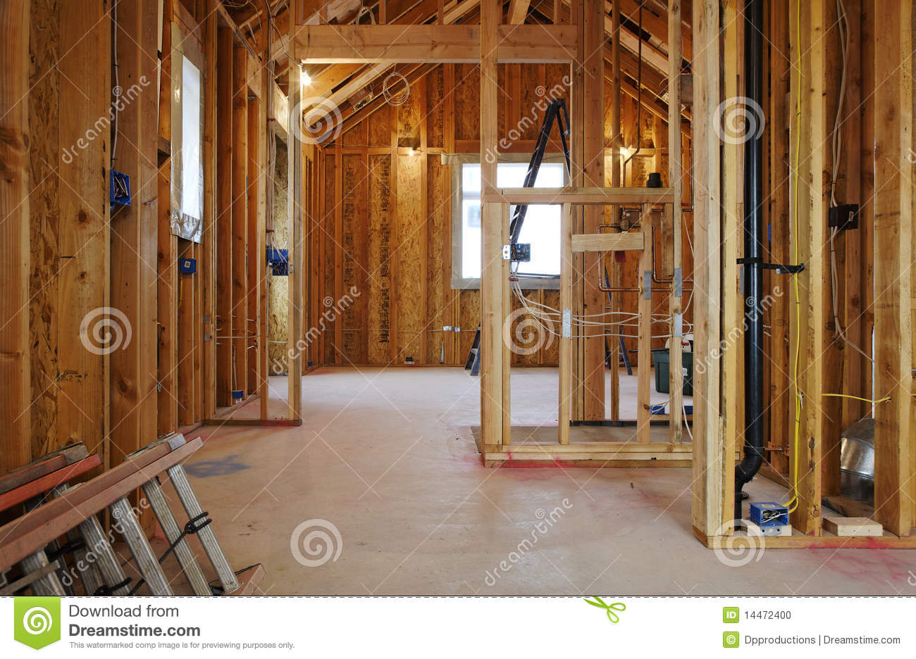 Interior of new home construction stock photo image of - Building a new home ...