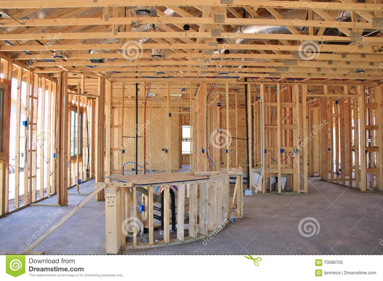 Interior Of New Home Construction Stock Image