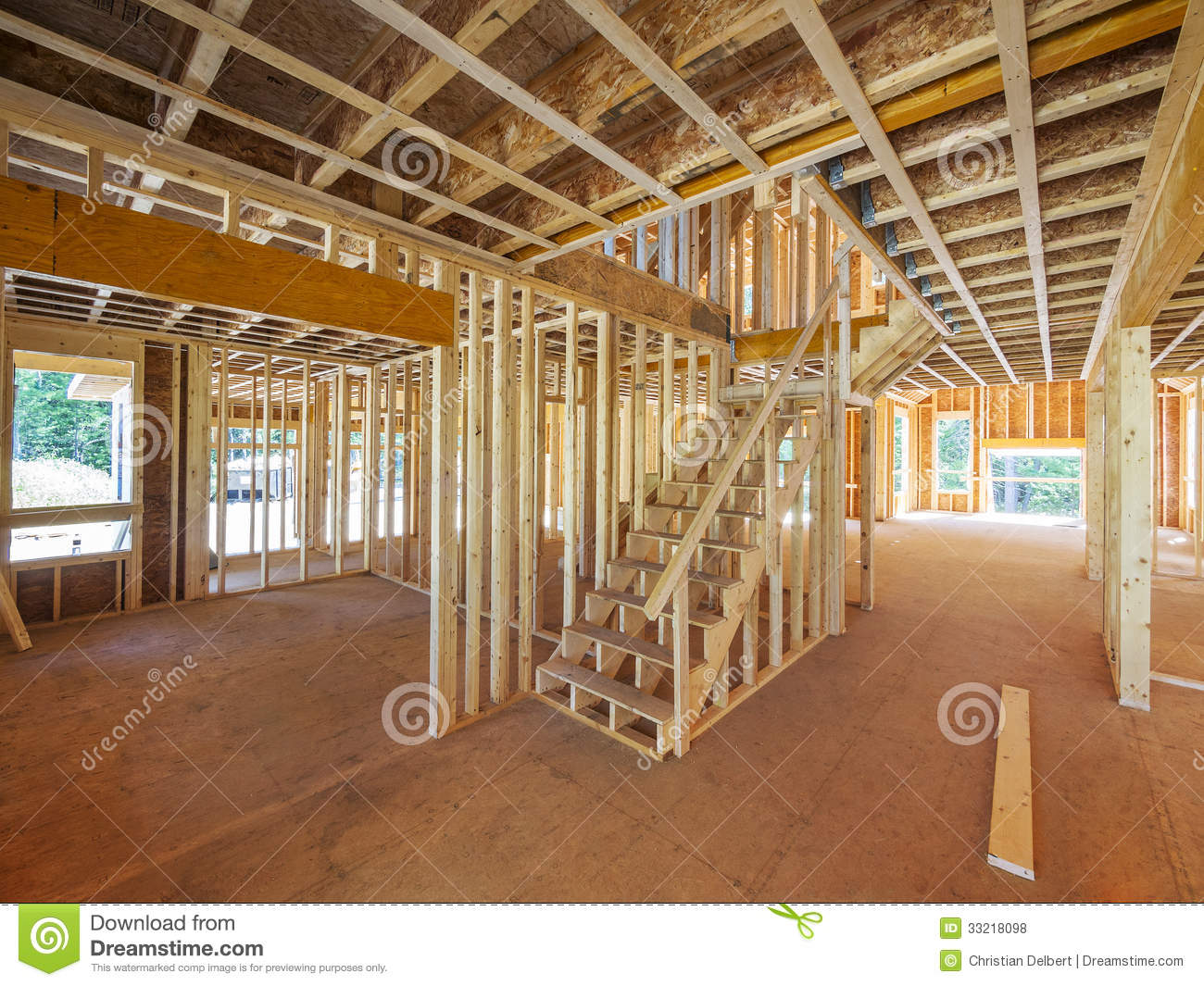 Interior new house framing stock photo image of view for Cost of new construction