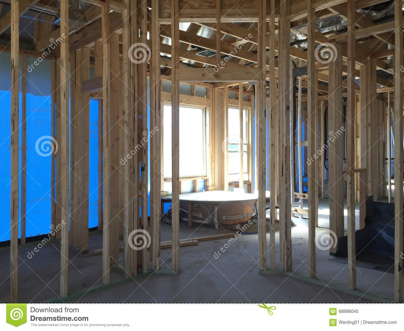 Interior Of A New House Under Construction Stock Photo - Image ...