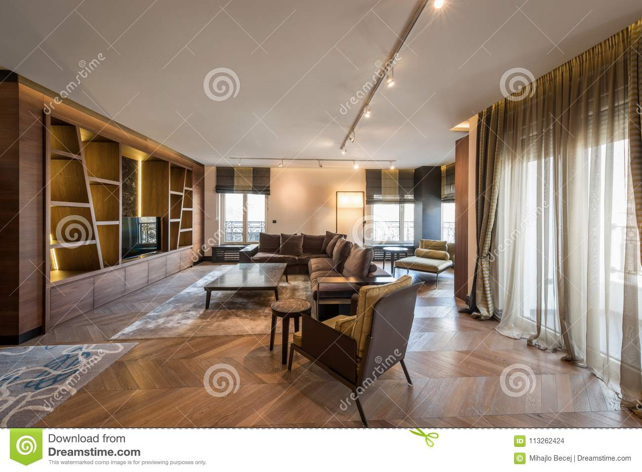 Interior of a luxury apartment, modern open plan living room