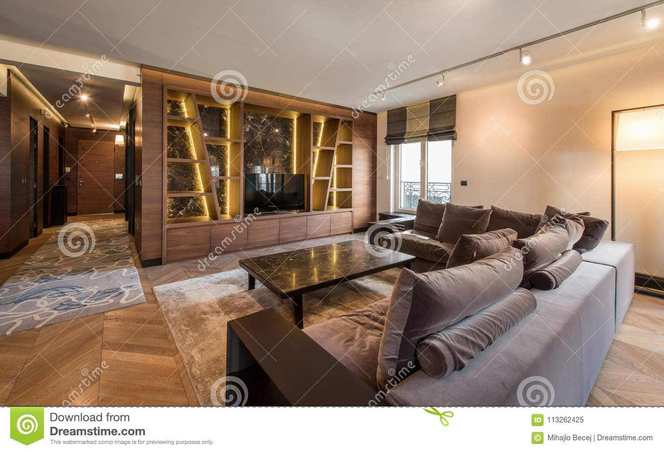 Interior of a luxury apartment modern open plan living room stock