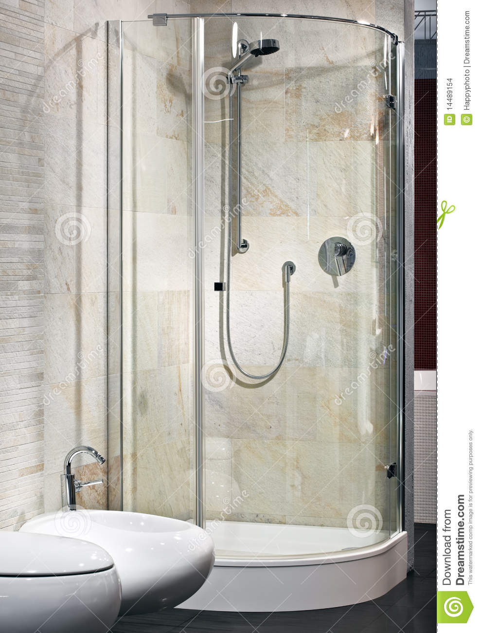 Interior of new luxury bathroom with shower stock images for Latest bathroom interior