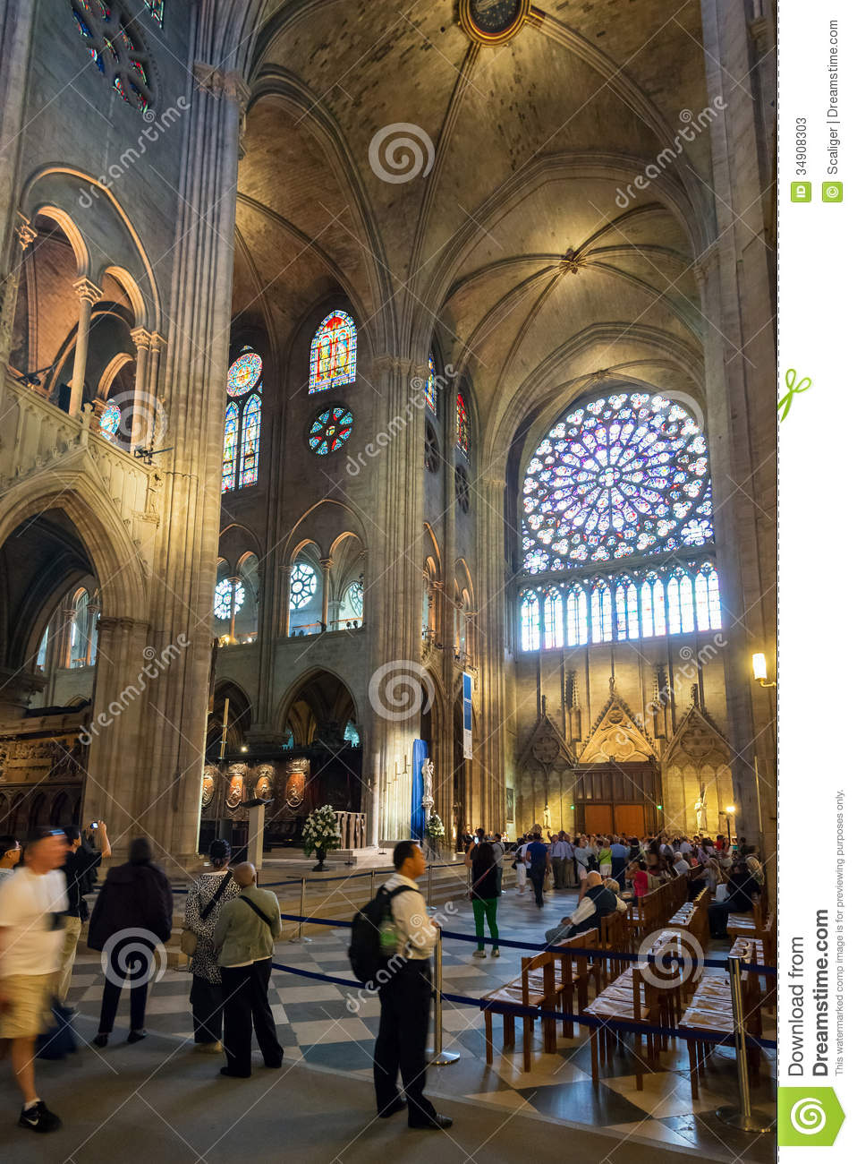 Interior Of The Notre Dame De Paris France Editorial Stock Photo Image Of Medieval Cathedral 34908303