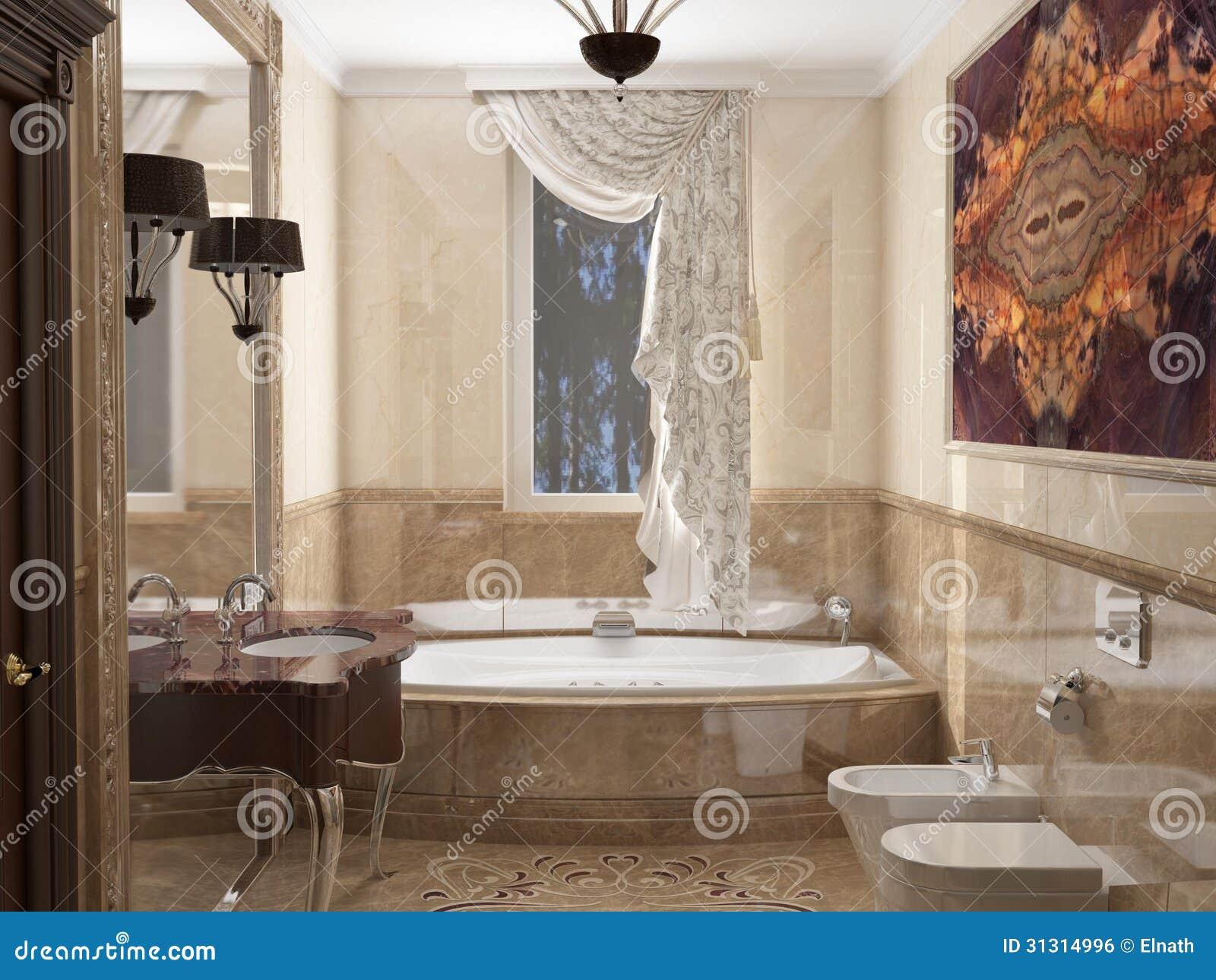 Interior O Banheiro No Estilo Clássico Imagem de Stock Royalty Free  #82A229 1300 1065