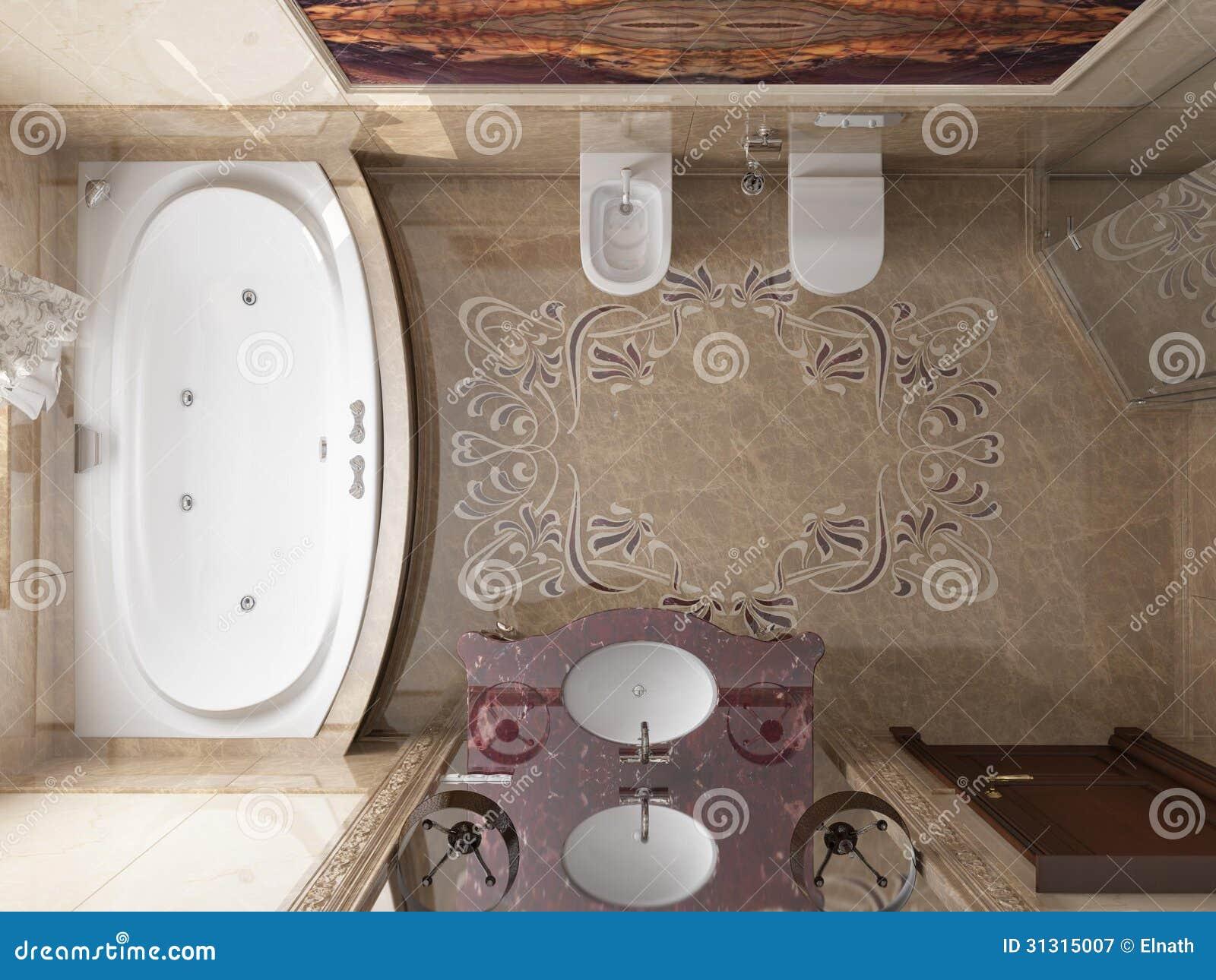 Interior O Banheiro No Estilo Clássico Fotografia de Stock Royalty  #82A229 1300 1065