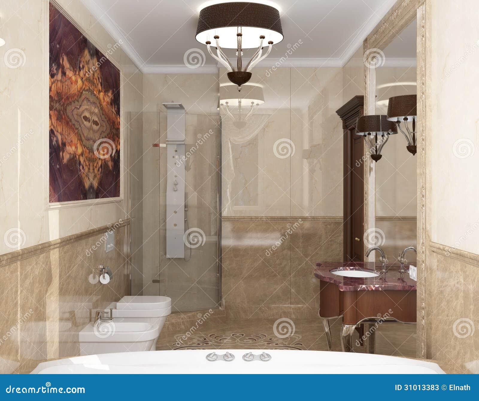 3D rendering Photorealistic interior o banheiro no estilo clássico. #85AA21 1300 1106