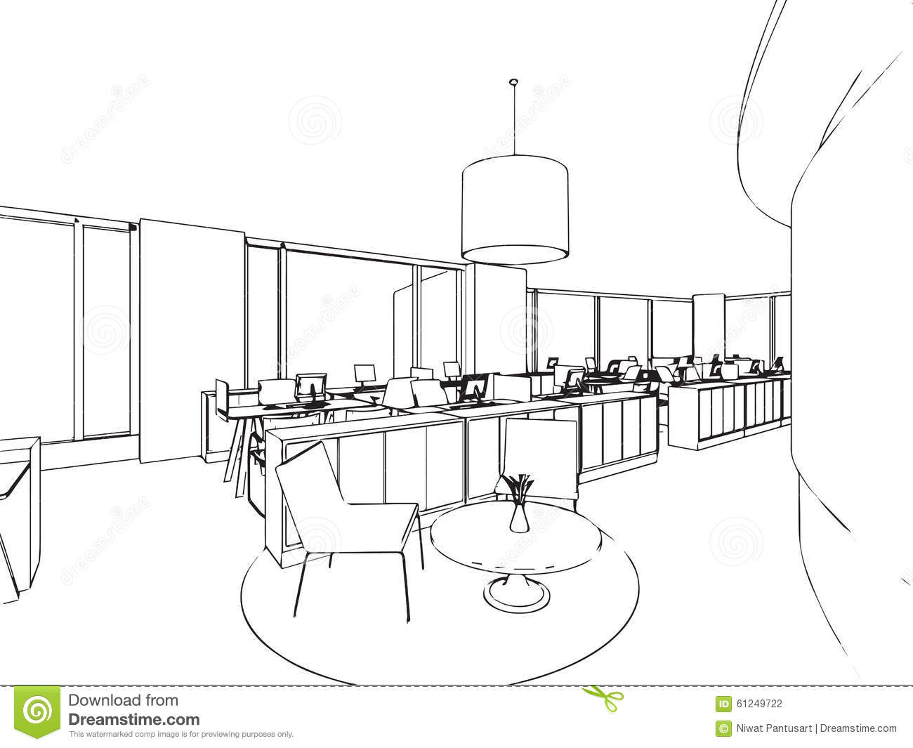 Interior Office Outline Drawing Sketch Stock Vector