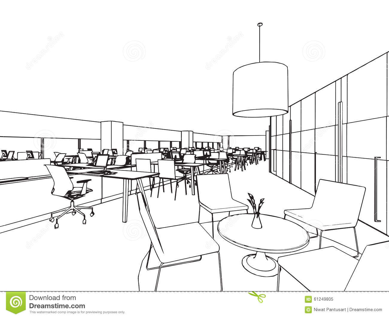 Drawing Lines In Office : Interior office outline drawing sketch stock vector