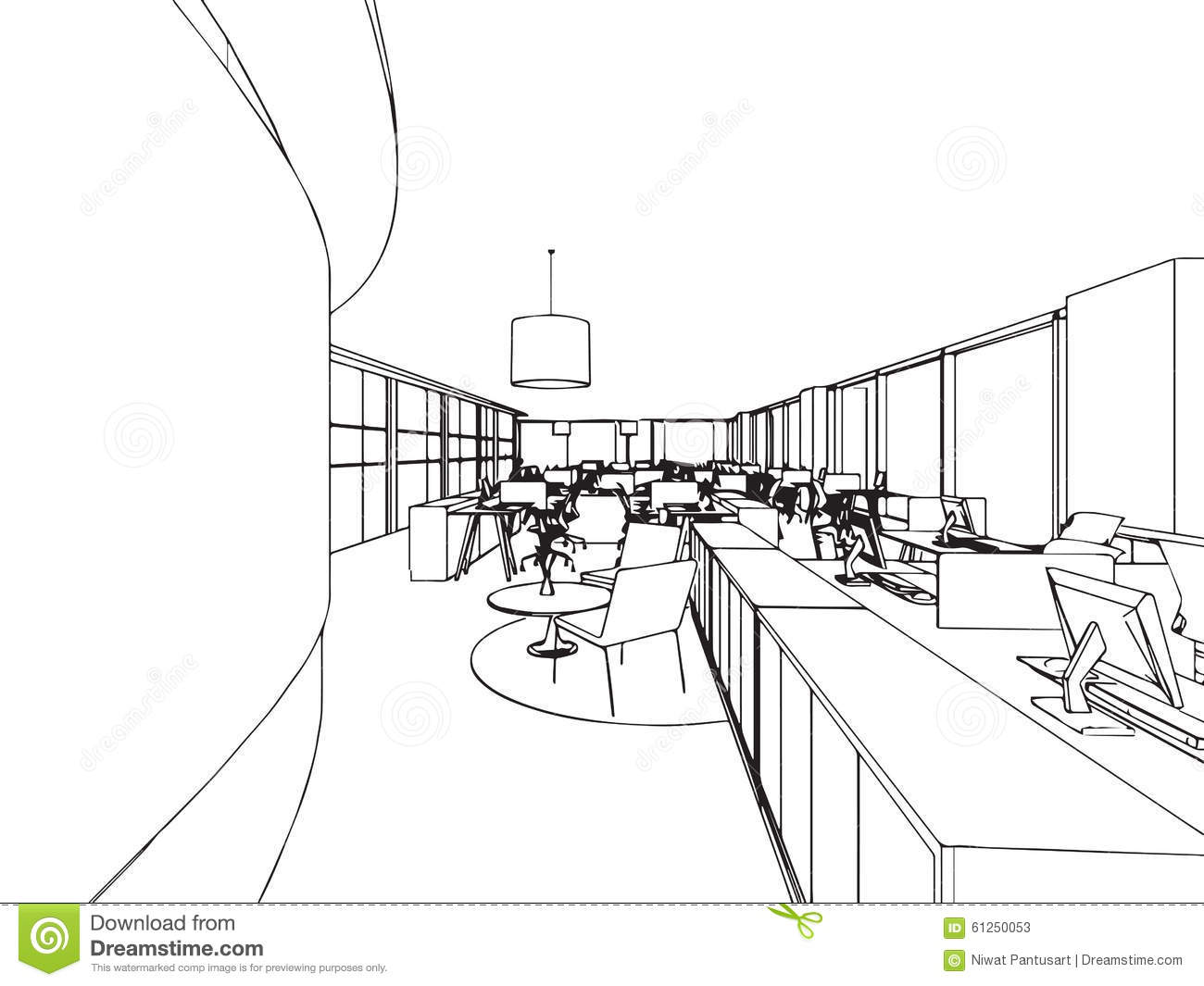 Interior Office Outline Drawing Sketch Stock Vector ...