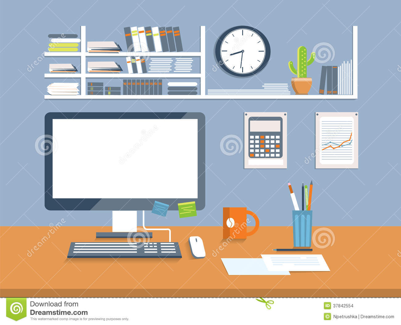 Interior office room flat design style stock images for Office design vector