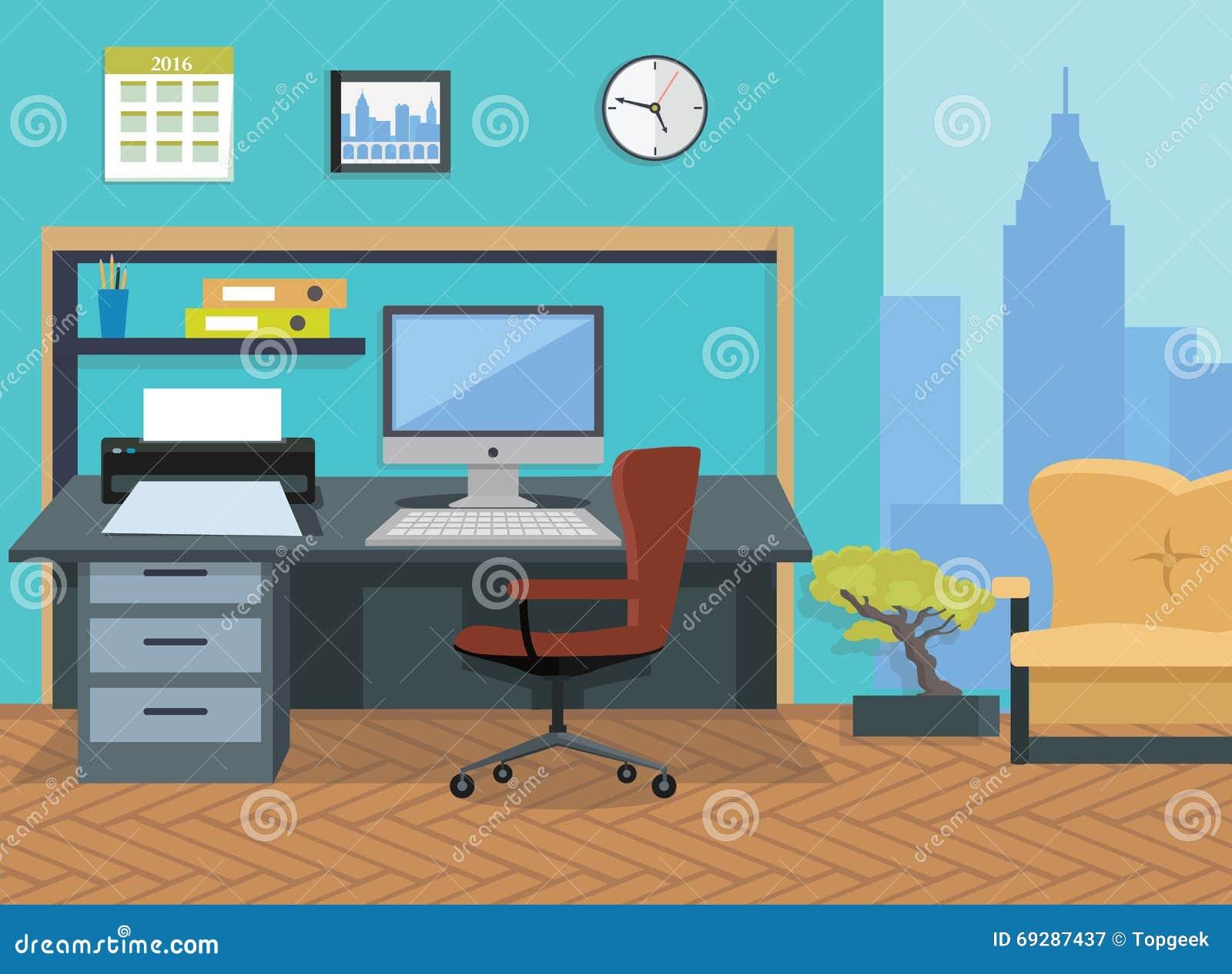 Interior Office Room Illustration For Design Stock Vector