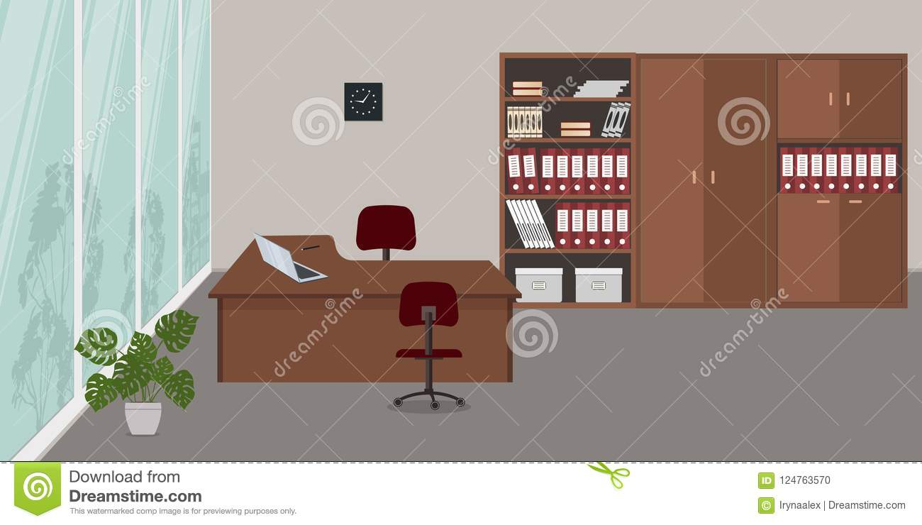 There Is A Desk, Red Chairs, Cabinets For Documents And A Flower In The  Picture. On The Desk Is A Laptop. Vector Illustration.