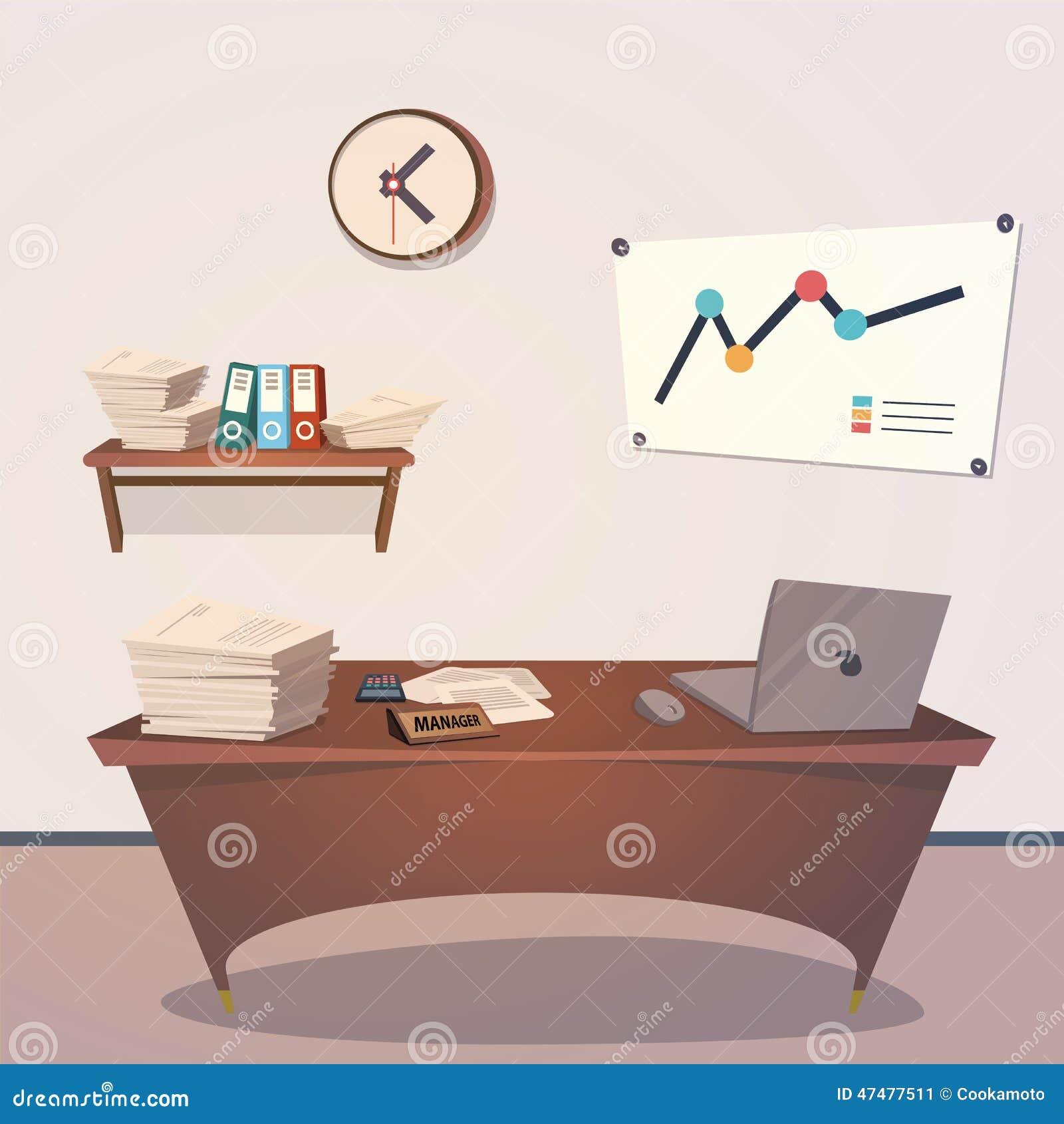 Interior Office Room Vector Illustration For Stock Vector