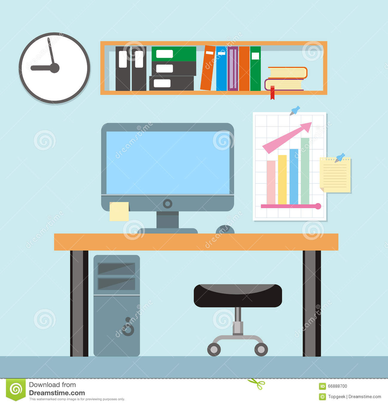 Interior Office Room.Vector Illustration For Design Stock