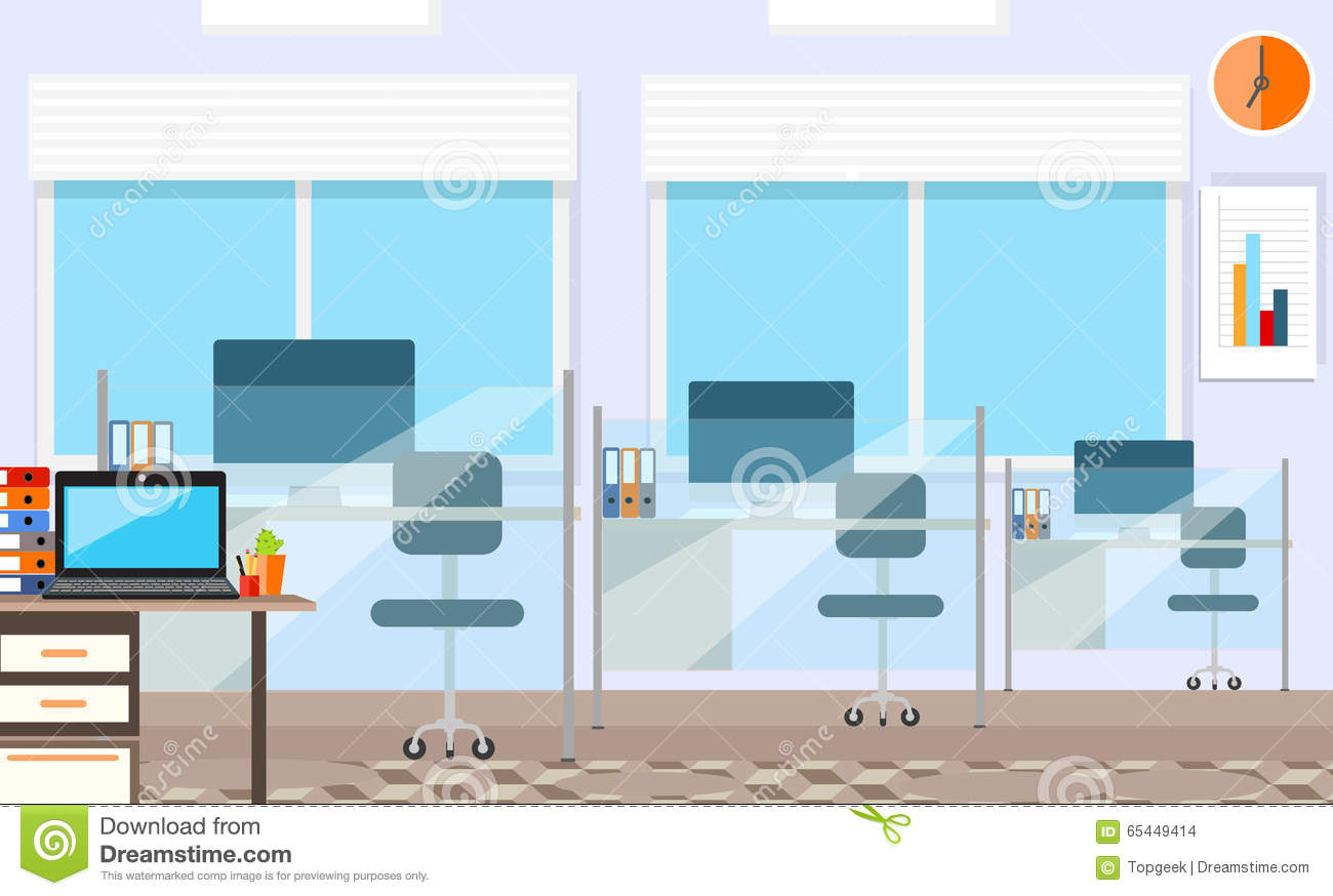 Interior office room vector illustration for stock vector for Office design vector