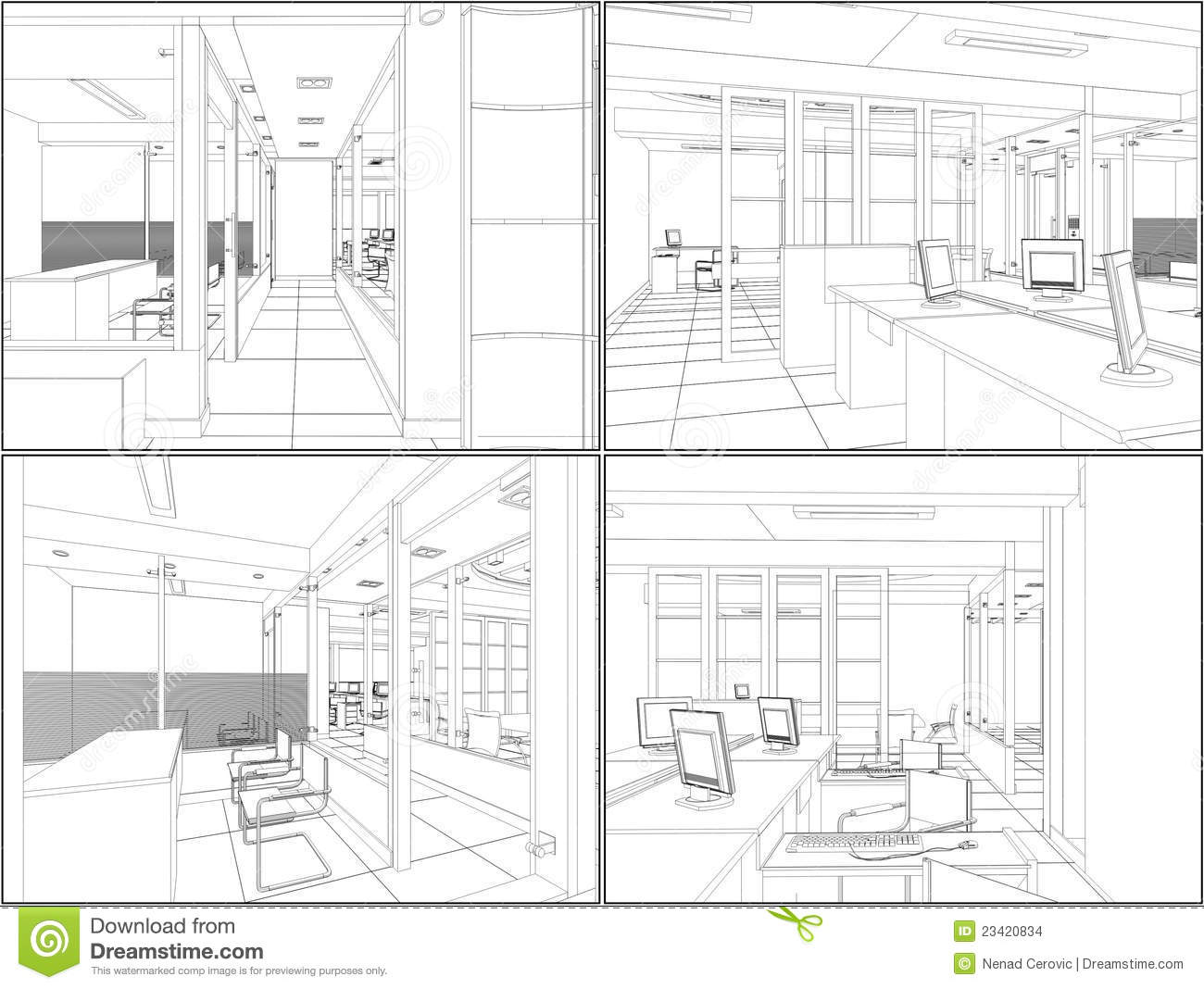 Interior Office Rooms Vector 06 Stock Images Image 23420834