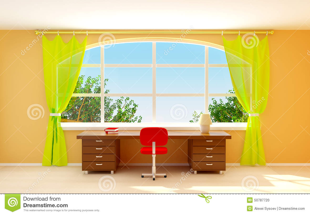 Big Houses Floor Plans Interior Office With Window Stock Illustration Image