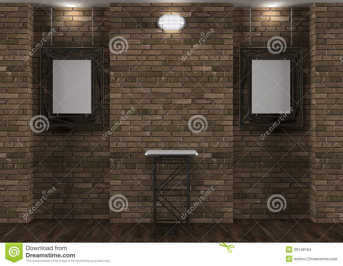 Interior With Old Brick Wall, Stand And Frames Stock ...