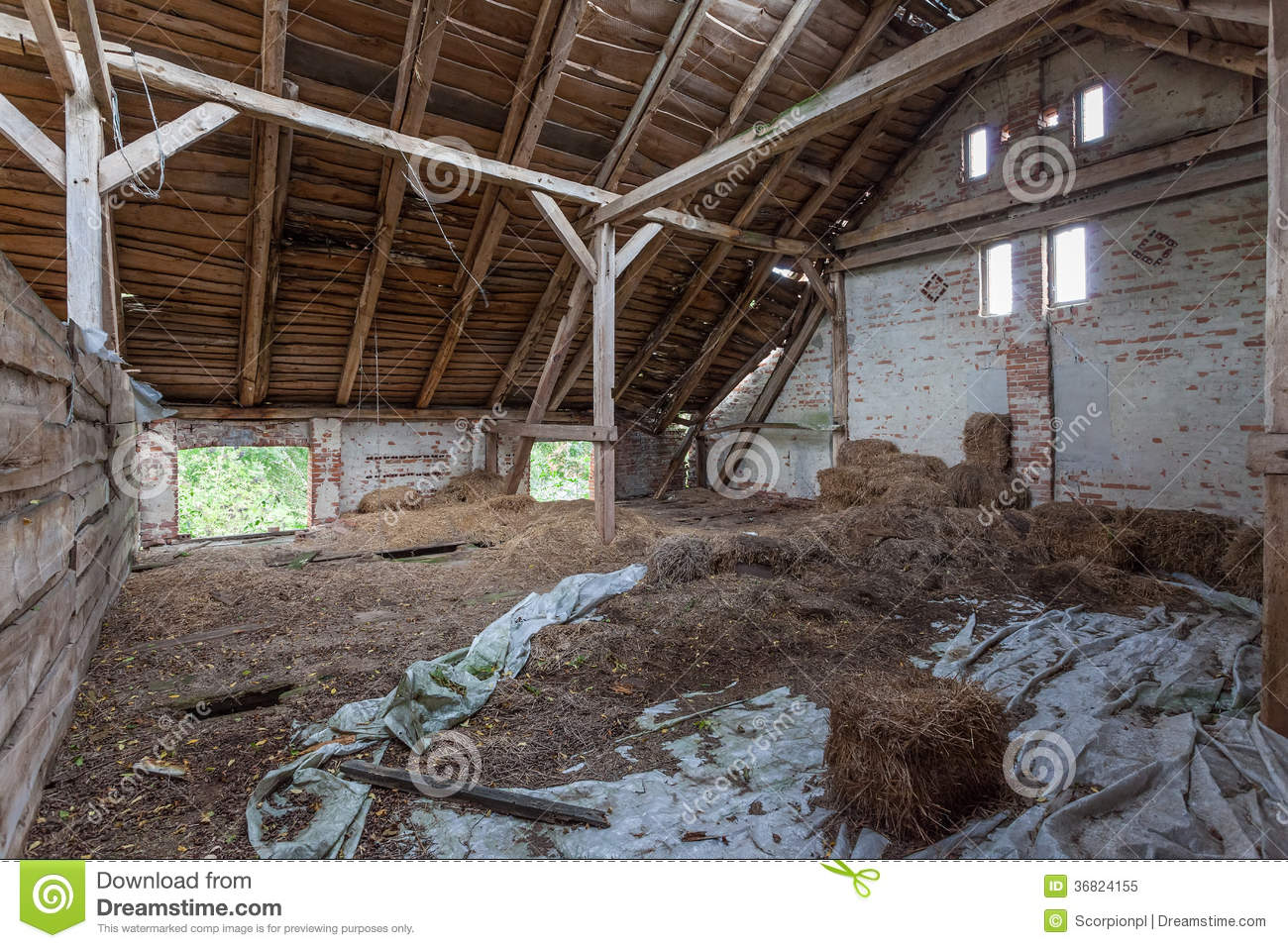 Interior Of An Old Decaying Barn