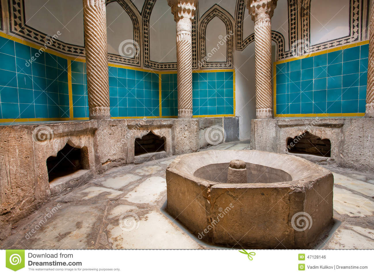 Interior of an old hamam bath with columns and a tiled for What to do with old swimming pool