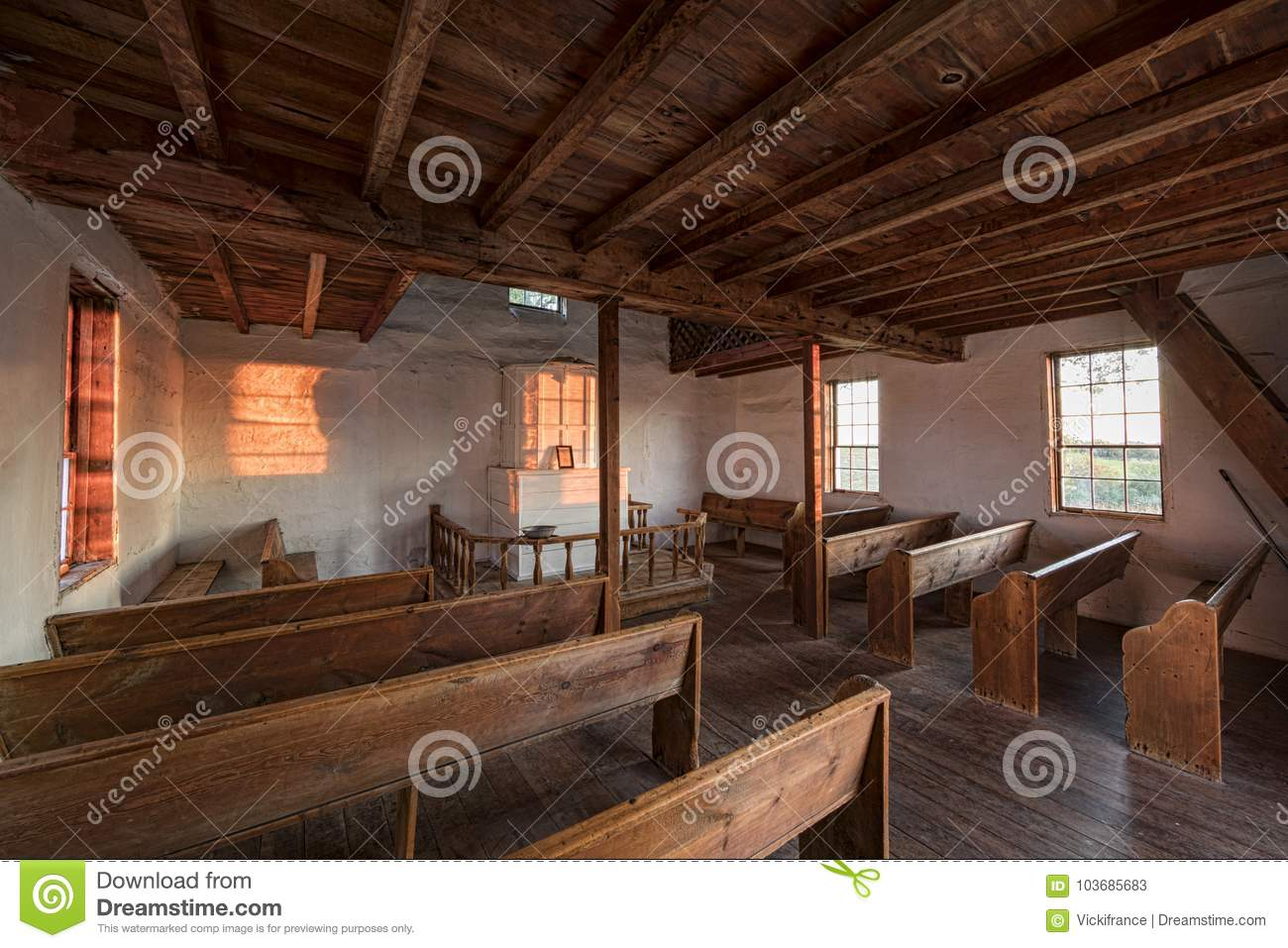 The Interior Of An Early 1800s Norwegian Country Church Built In America