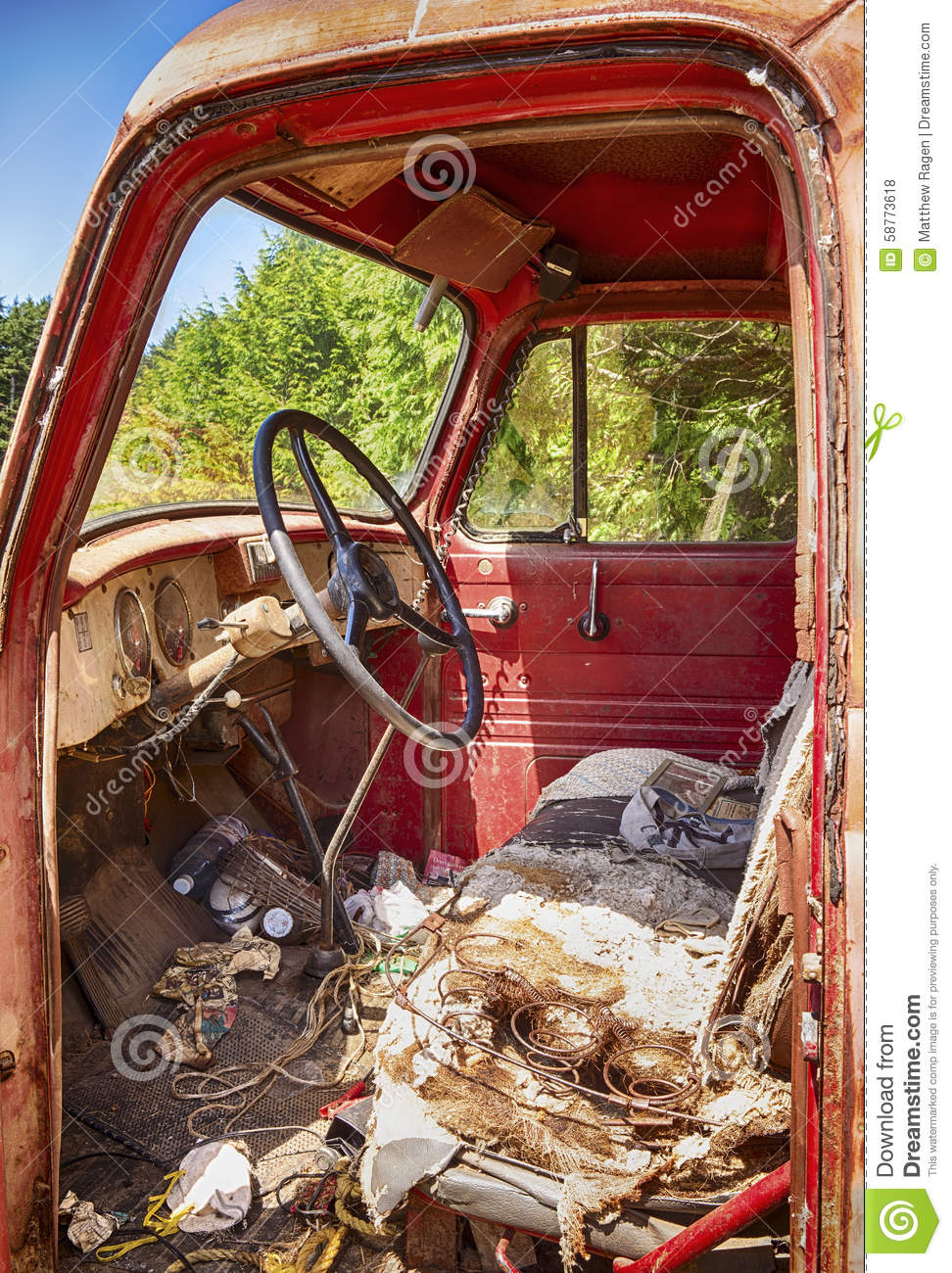 Antique Bus Seats : Interior of old red truck stock photo image wiring