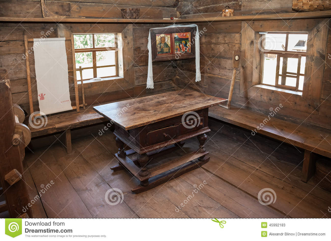 Download Interior Of Old Rural Wooden House Editorial Stock Photo